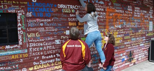 Family writing on the wall at anderson dock