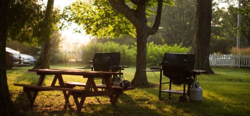 gas grills and picnic tables